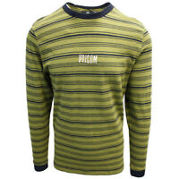 Volcom Men's Sonic Green Flexure Crew L/S T-Shirts (S01)