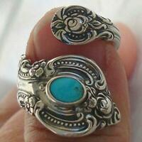 Native American Indian Jewelry Silver Turquoise Open Ring Adjustable Open Women