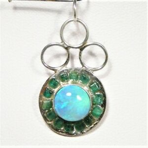 """OPAL SOLID AND 14 EMERALDS PENDANT S.SILVER 28 X 16mm 14CT """"NEW"""" AUZ MADE SS30"""