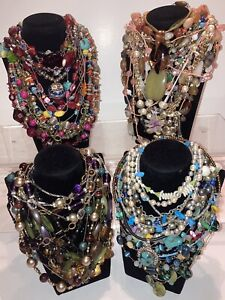 42 Necklaces Jewelry Lot, Art Glass, Beaded, Chokers, Turquoise, Pearls, Plastic