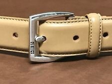 Ralph Lauren Italian Leather TAN/CREAM Belt Size LARGE Sterling Silver Buckle 36