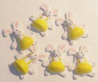 6 Lapins Autocollant 3,2X2,5cm JAUNE Décoration Fête Pâques Anniversaire neuf
