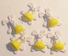 6 Lapins Autocollant relief JAUNE Décoration de Table Fête Pâques Anniversaire