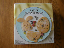 Set of 3:Williams Sonoma Silicone Easter Pancake Mold-Egg,Bunny Rabbit,Chick-New