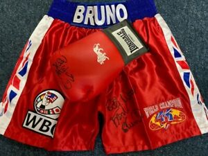 Frank Bruno signed Lonsdale boxing glove & replica Trunks direct from management