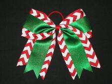 "NEW ""CHRISTMAS CHEVRON GLITTER"" Cheer Bow Pony Tail 3"" Ribbon Girls Cheerleading"