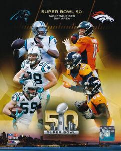 Denver Broncos Carolina Panthers Super Bowl 50 Matchup 8x10 Photo Peyton Manning