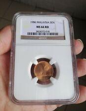1986 Malaysia 1 cent NGC MS 66 RD