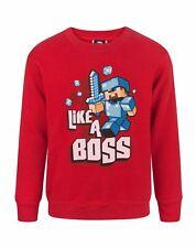 Minecraft Like A Boss Steve Boy's Red Long Sleeve Sweatshirt Jumper