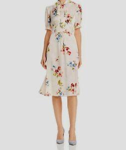 $375 Jill Jill Stuart Women's Pink V-Neck Short Sleeve Silk Floral Dress Size 12