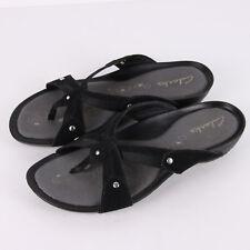 Clarks Nubuck Slide Sandals Womens 6 Black Leather Thong Flip Flops Comfort Shoe