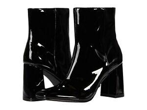 Women's Shoes Steve Madden TARYN Patent Block Heel Ankle Booties BLACK