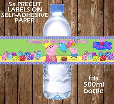Personalizado De Peppa Pig Botella De Agua Etiquetas Cumpleaños Niños Partido favor