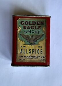 VINTAGE GOLDEN EAGLE SPICES ALLSPICE SPICE TIN - THE R.A. BARTLEY CO. TOLDEO, OH