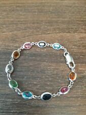 Milor Sterling Silver 925 Italy Bracelet With Multicolor Stone 7 1/4""