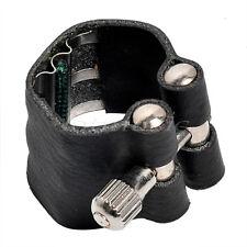 Black Leather Soprano Saxophone Ligature Sax Accessories