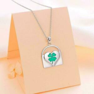 925 Sterling Silver Four Leave Clover Heart Lock Pendant Necklace for Women St.