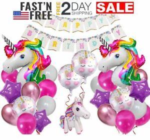 Globos De Unicornio Decoracion Para Cumpleaños Fiesta Niña 2 3 4 5 6 7 Años Set