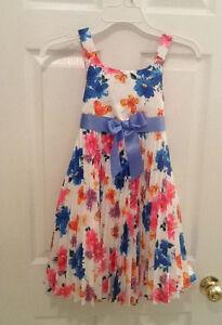 NWT Bonnie Jean White w/Colorful Floral Sleeveless Dressy Dress Sz 10