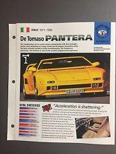 "1971 - 1996 De Tomaso Pantera IMP ""Hot Cars"" Spec Sheet Folder Brochure #3-2"