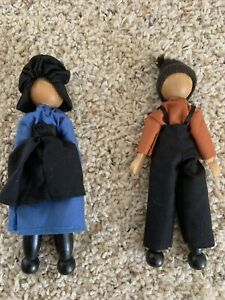 Vintage 7 In Boy And Girl  Handmade Wood Amish Dolls