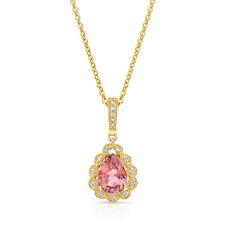 14k Oro Amarillo Pera Turmalina Rosa Diamante Colgante Lágrima Collar 1.33 TCW