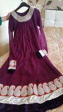 womens 3 piece silk and net anarkali dress Churidhar dupatta suit new