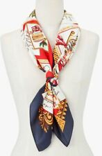 TALBOTS HOLIDAY POSTCARD SILK SQUARE SCARF
