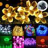 50 LED Solar Powered Flower Fiber Optic Fairy String Outdoor Garden Lights Xmas