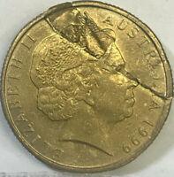 "AUSTRALIA 1999 ONE 1 DOLLAR "" MAJOR ERROR SPLIT PLANCHET "" VERY SCARCE"