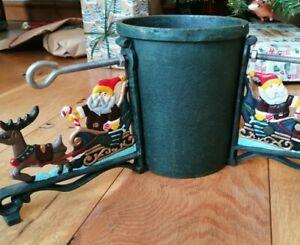 "VINTAGE ORNATE CAST IRON BUCKET 5.5"" FESTIVE CHRISTMAS TREE HOLDER STAND"