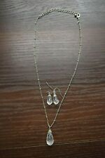 "AVON Silver Jewellery Set Pendant 20"" Necklace and earrings"