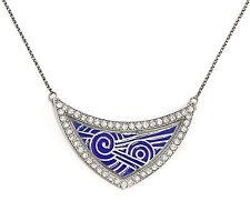 925 Argento smaltato Collana in Stile Art Nouveau con Pietre Swarovski blu