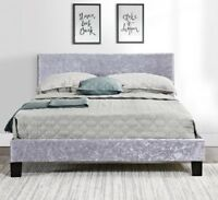 Berlin Fabric Velvet Bed Frame Single, Small Double King Size Grey Black Crushed