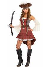 Adult Castaway Pirate Lady Costume Sexy Wench Fancy Dress Caribbean Size 8-16