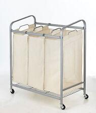 Heavy-Duty 3-Bag Laundry Sorter Cart Hamper Organizer LS03 Beige