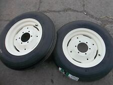TWO 600x16,600-16,6.00-16  Six ply Rib Implement Tractor Tires w/Rims