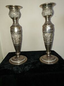 Unique , 20C Antique Islamic/Indian Hand crafted silver candelabras