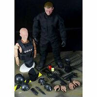 """1/6 Soldier 12"""" SWAT Black Uniform Model Military Army Action Figure Suit Toys"""