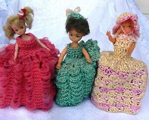 Three Old Hard Plastic Dolls with Hand Crochet dresses