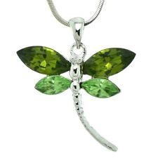 """DRAGONFLY Made With Swarovski Crystal Lime Green Wing Pendant Necklace 18"""" Chain"""