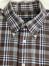 Jos A Bank Mens Shirt Size Large Brown Gray Plaid Check Button Down Long Sleeve