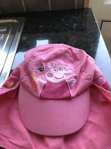 Girls Peppa Pig Sun Cap With Adjustable Neck Cover .aged 1-3 Years.