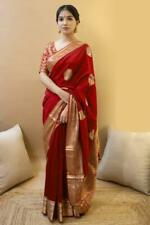 Red Banarasi Silk Saree Party Wear Indian Ethnic Wedding Designer Sari
