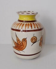 Vintage 1980's Mexican Pottery Vase-Brown & Yellow Design-Signed Signed CAT D-17
