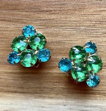 Vintage Green Blue Rhinestone Earrings