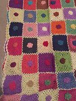 "Hand Crochet Throw Rug Blanket Cotton Multi Colours 150x100cm (60x39.5"")"