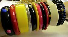 Bracelets Plastic Celluloid Lucite Bangle Vtg Retro 70's 80's Lot Chunky 12pc