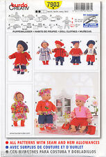 "Burda Sewing Pattern 7903 Baby Doll Clothes Medium Sized 16-18"" / 40-45cm Dolls"