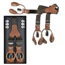 Lloyd Suspenders Braun Dutchman 120cm 25mm Leather With Buttons And Clips